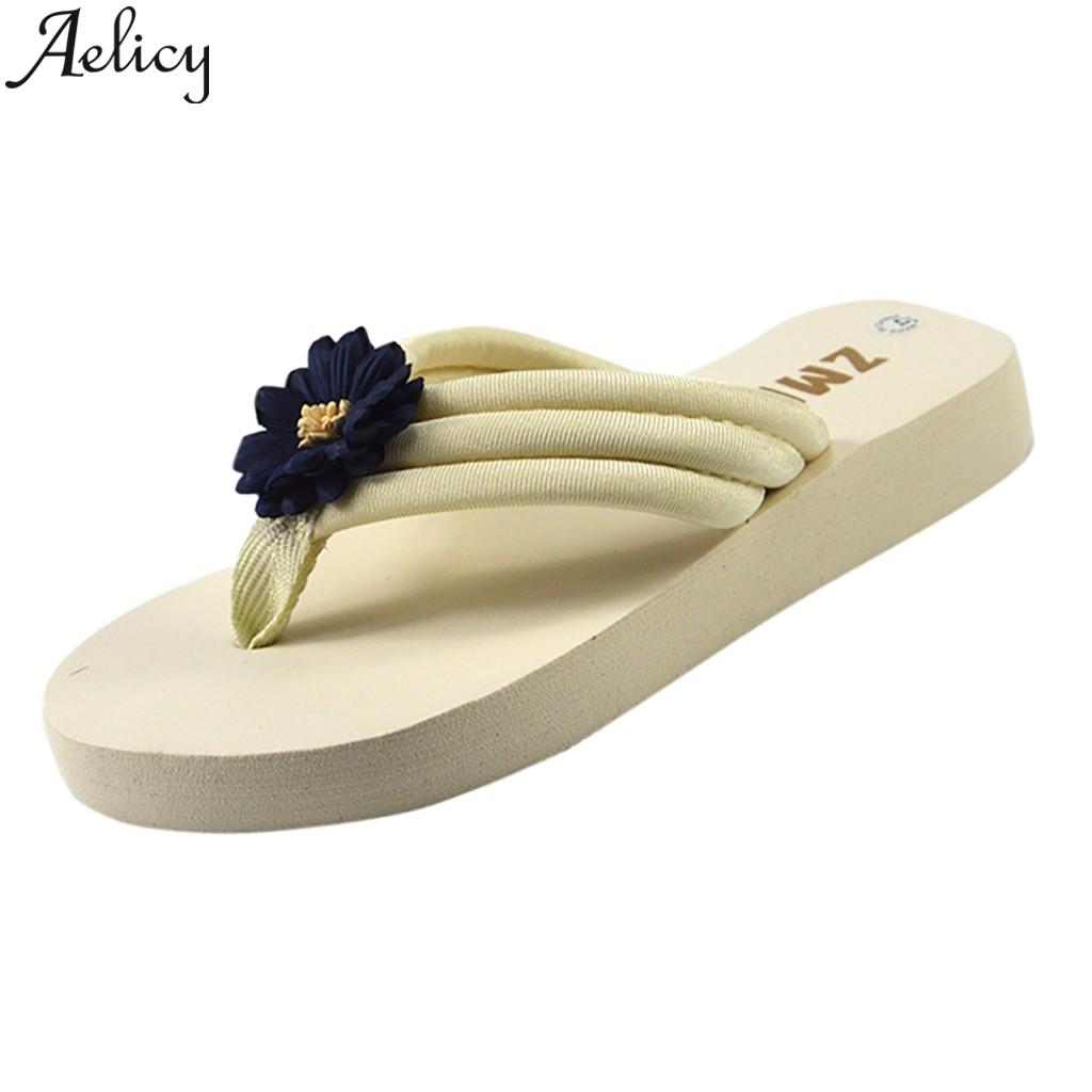 Unisex Summer Beach Slippers Star Flower Flip-Flop Flat Home Thong Sandal Shoes