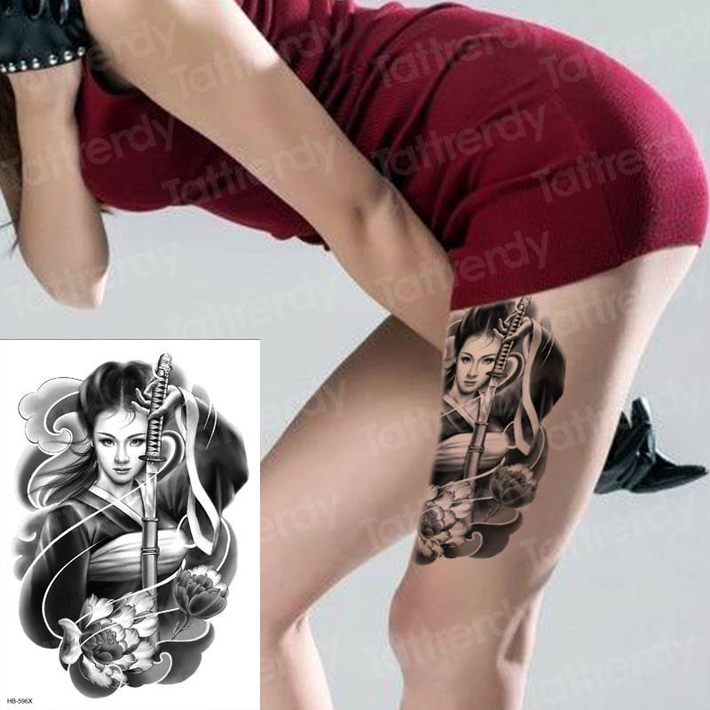 Geishas Tatuaje Japonés Transferencia De Agua Del Tatuaje Temporal A Prueba De Agua De Gran Tamaño Del Muslo De La Pierna Tatoo Etiquetas Engomadas