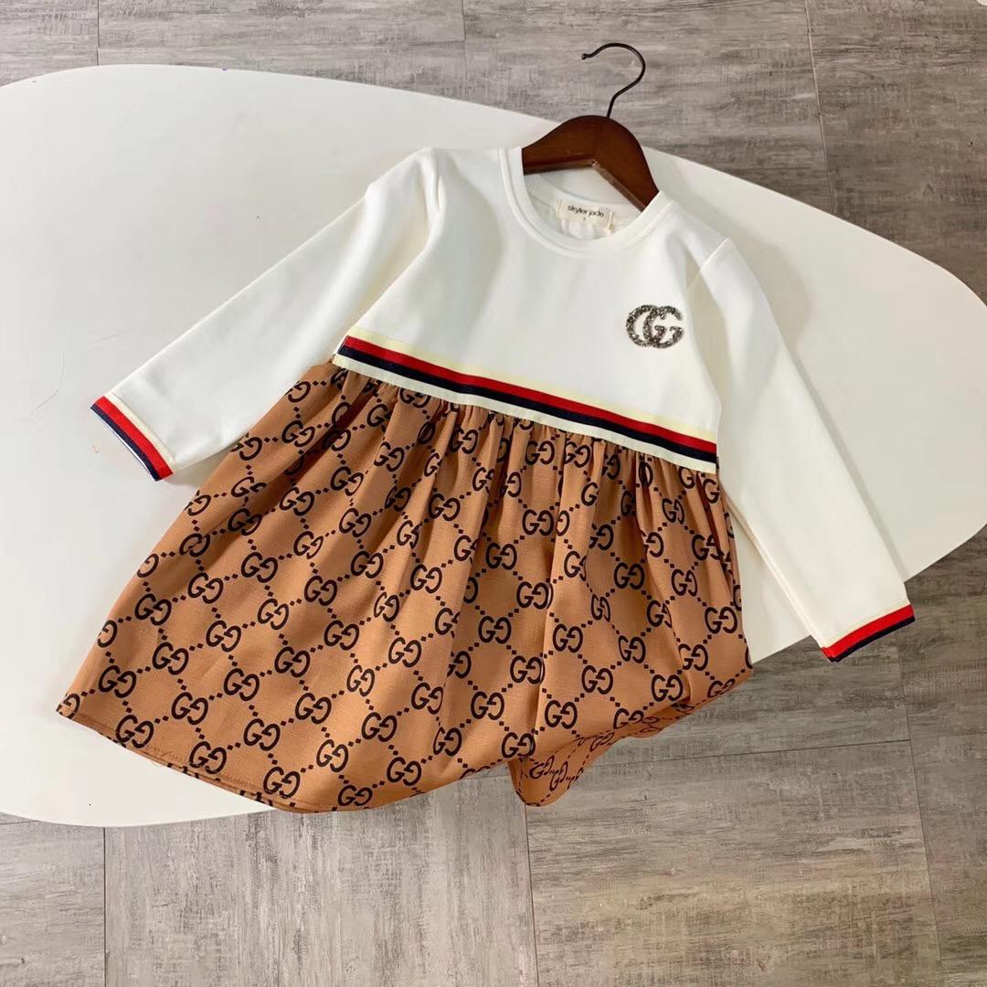 2020 vestito di un pezzo Fends manica corta girocollo bambini di Bowknot estate modo del bambino Abiti Ragazza infantile Clothes121118