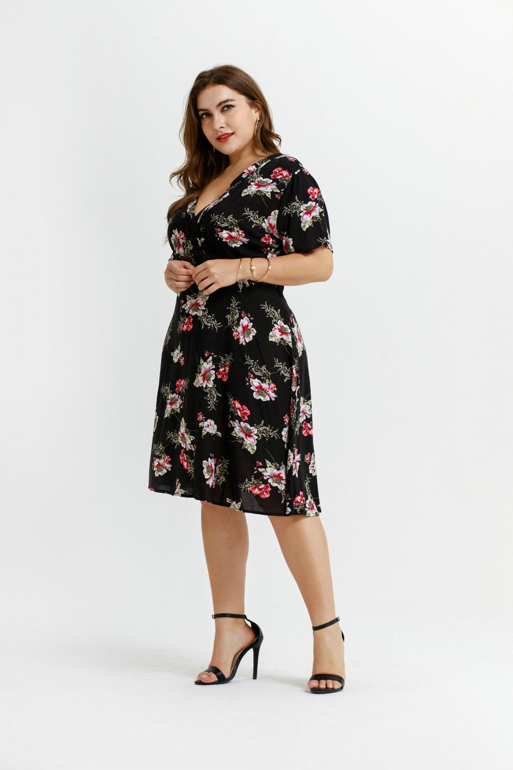 Europe and America Big Size Women's Dress Hot Spring and Summer New Article Knitting Printing Fat Mm Show Thin Fat Woman Dress