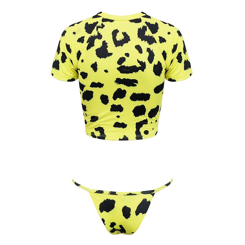 Плавать бикини для женщин Узел Crop Top бикини 2019 Leopard полиэстер уха желтый Push Up Купальник Женский Thong Bikini Sexy купальный костюм