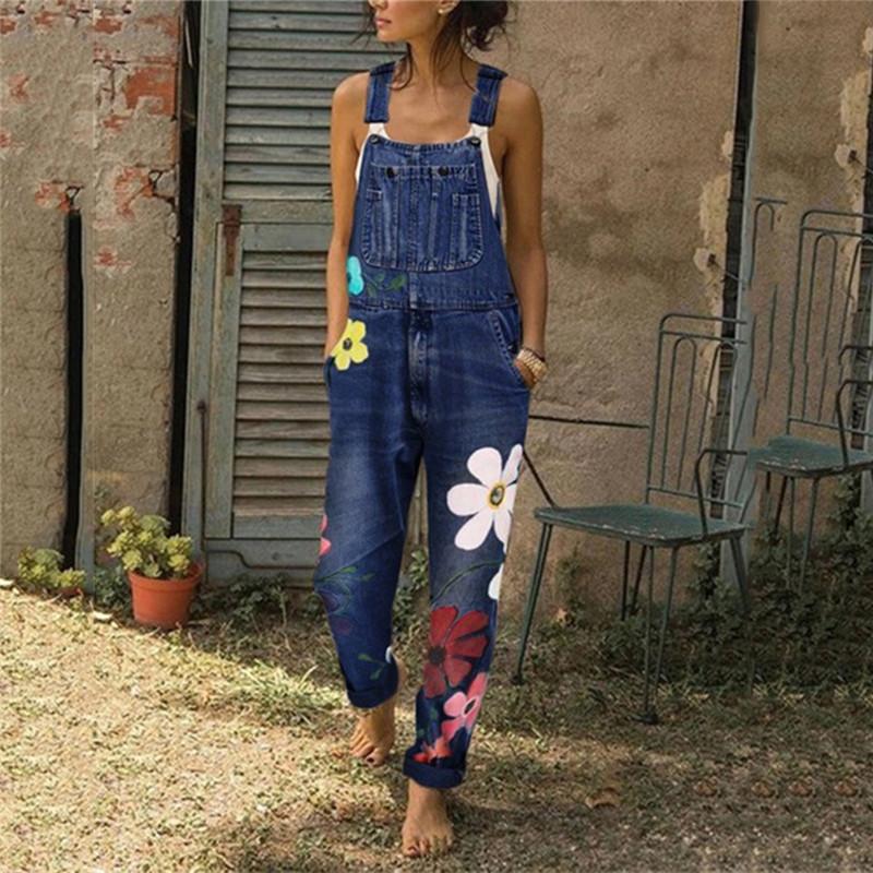 Da Donna Larghi Lunghezza Intera Salopette Denim Jeans Grembiulino Tuta Pantaloni Pants