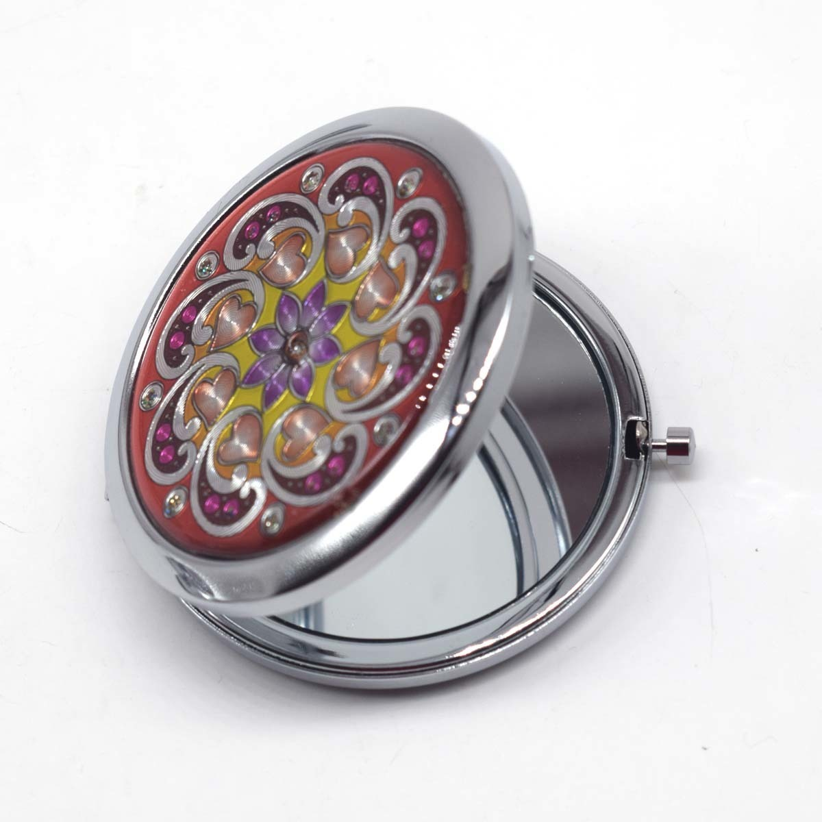 Portable Foldable Pocket Metal Makeup Compact Mirror Woman Cosmetic Mini Normal Mirror Double Sides Mirrors