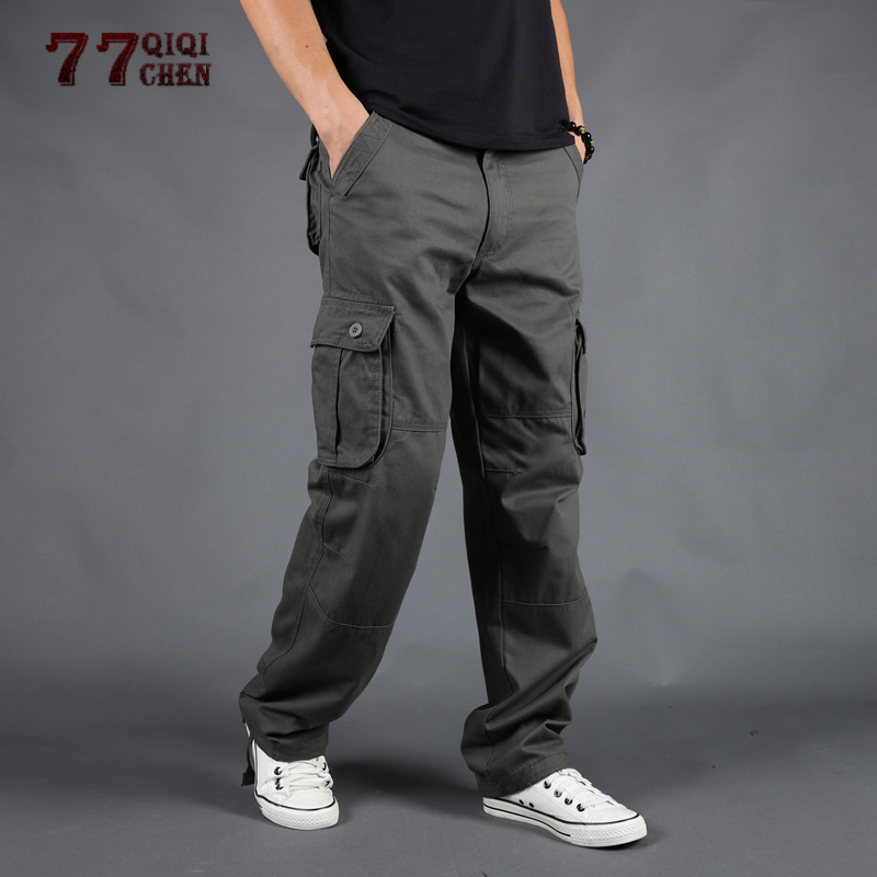 2019 Men Cargo Pants Straight Casual Multi Pockets WOODIN-Cargo Tactical Pants 28-40