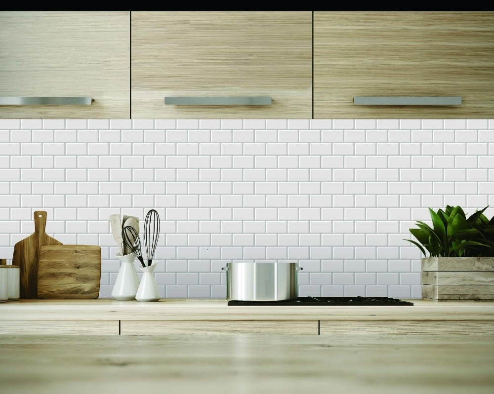 10 Sheets 12x12 Peel And Stick Tile For Kitchen Backsplash White Subway  Self Adhesive Wall Tile Home Wall Decal 3D Sticker CJ191213 Wall Stickers  And ...