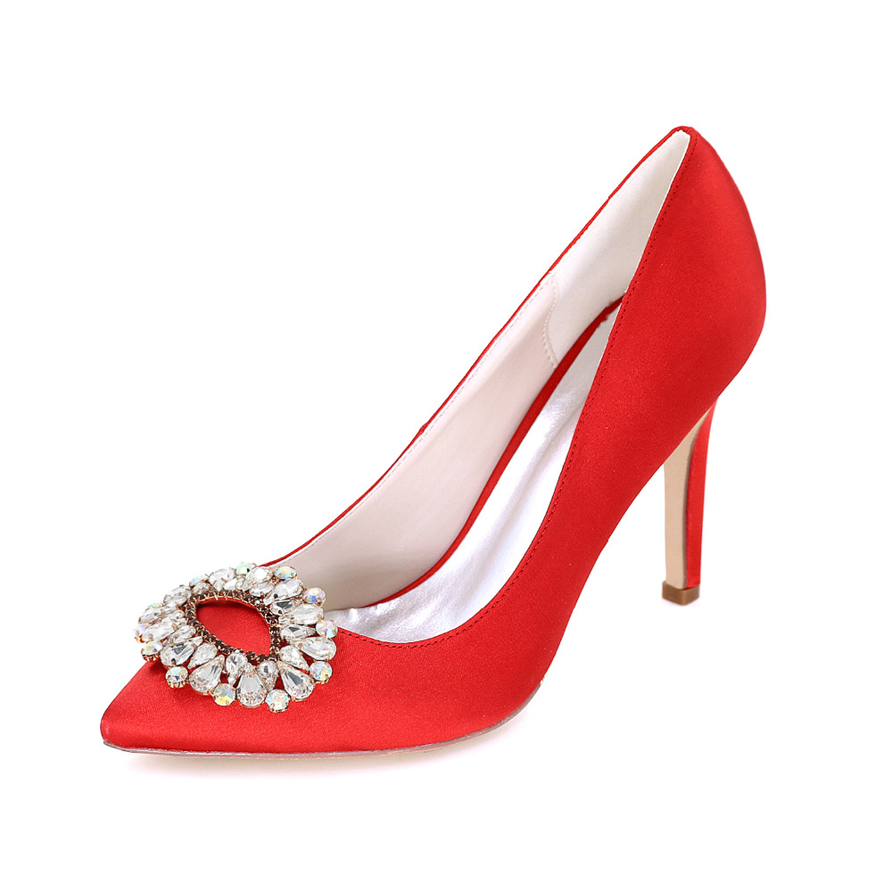 Only - Elegant lady's satin evening dress shoes colorful crystal brooch high heels bridal wedding pumps red size 40 US 9