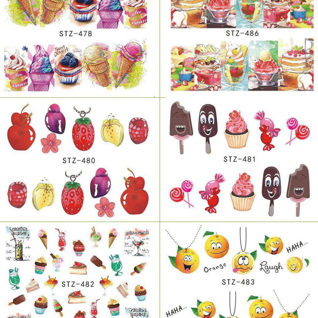 18 SheetsCake Ice Cream Nail Sticker Colorful Fruit Women Girls Nail Decal Wrap Manicure Decor