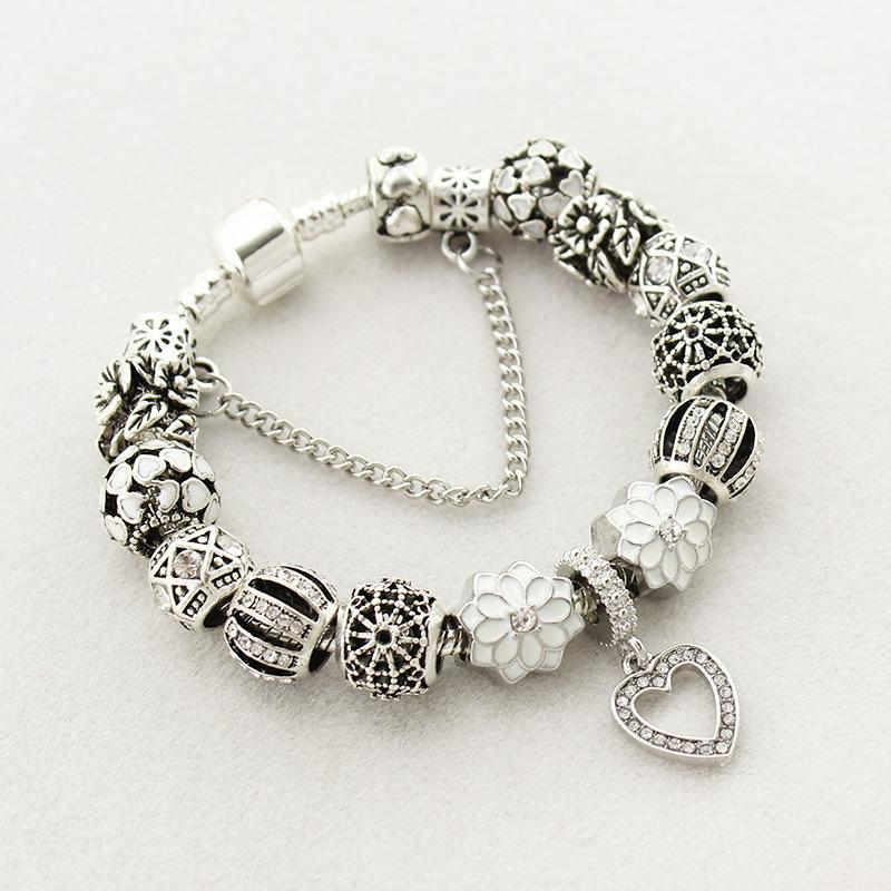 Fit Pandora Factory Silver Plated Heart Glass Crystal Beads Silver white Peach heart bracelets Beads love bracelet Petal Pendant
