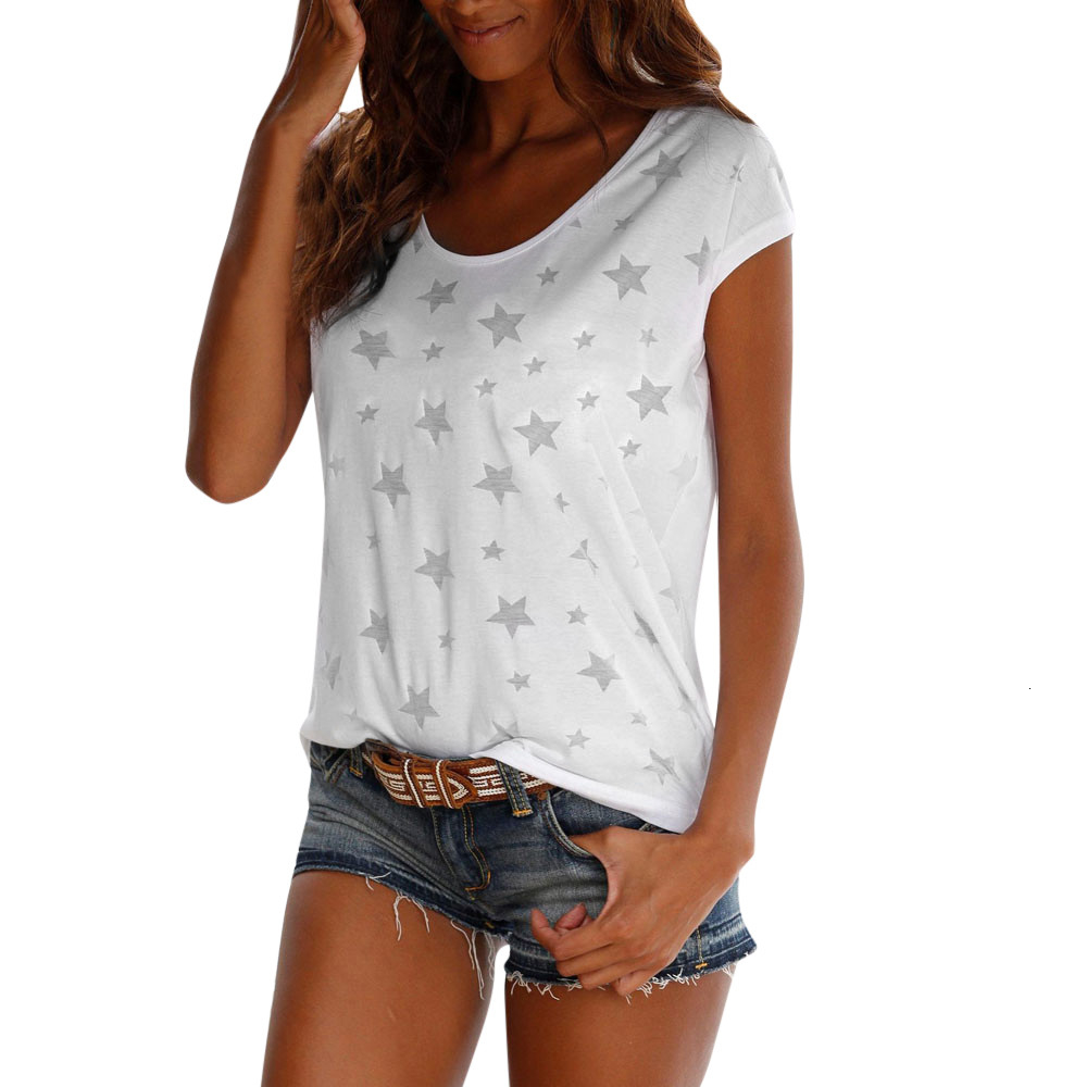 T shirt donna del manicotto di modo di estate delle donne del bicchierino Top Donne maglietta Maglietta stampata casuale del manicotto della protezione F