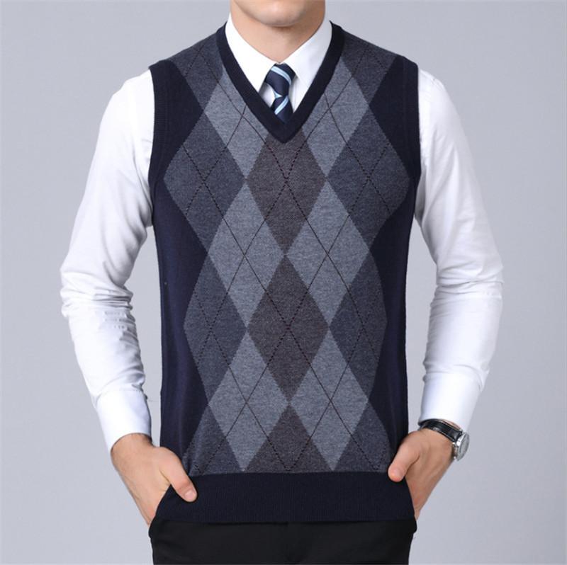 UUYUK Men Basic Solid V-Neck Slim Pullover Knitted Sweater Vest