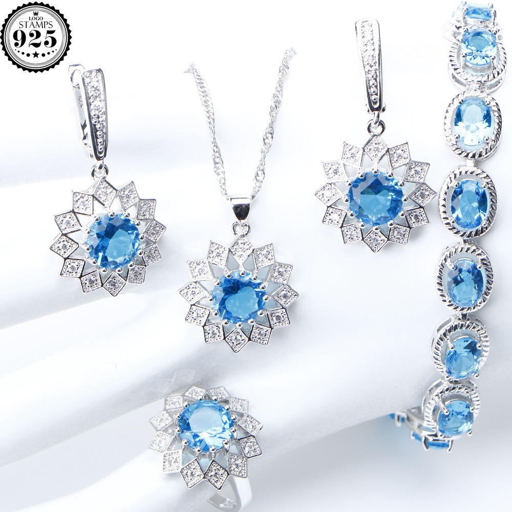 Sterling Silver Set with Sapphire and Zircons Earrings Pendant Bracelet Box