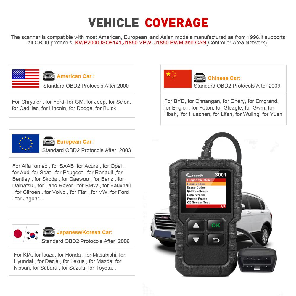 X431 CR3001 Scanner OBD2 Completo OBD 2 Leitor de Código EOBD Creader 3001 Ferramenta de Diagnóstico do carro PK AD310 CR319 ELM327 ferramenta de Verificação
