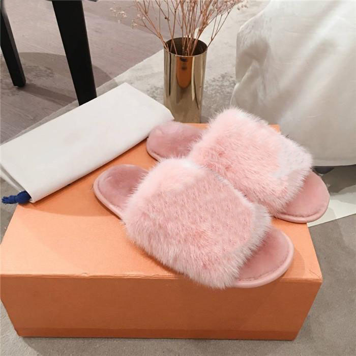 Top luxury slippers! Fashion real fur open toe slippers indoor light shoes thermal slippers real leather soles luxury plush shoe large 35-42