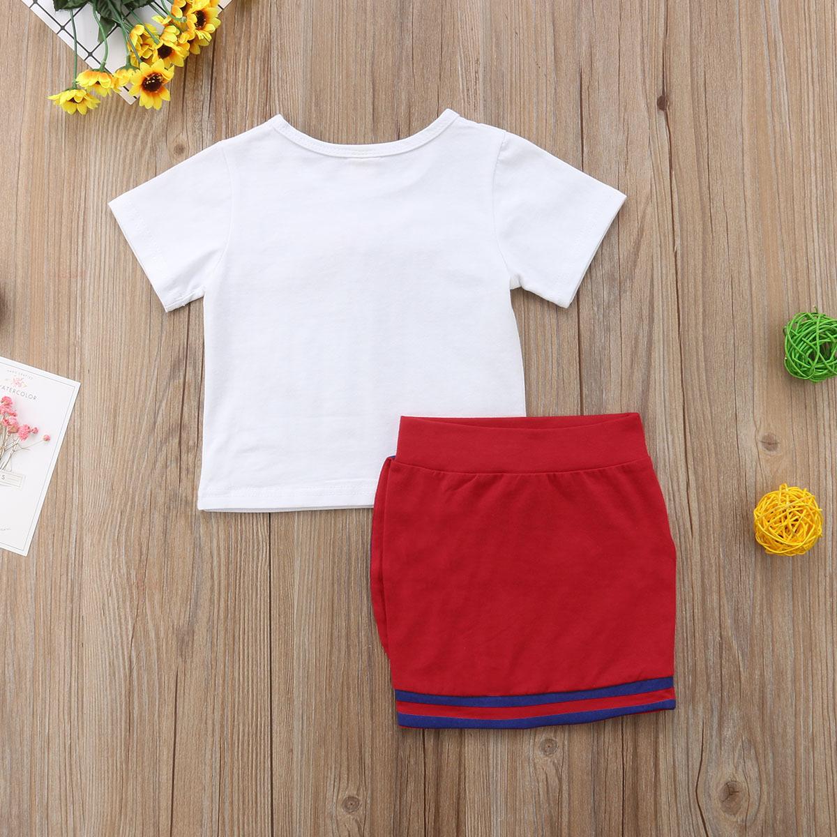 Kızlar Üniforma Yenidoğan Çocuk Bebek Kız Giysileri Setleri Yay Çiçek Kravat Tops T-shirt Kısa Mini Etek Parti Düğün Tutu Elbise