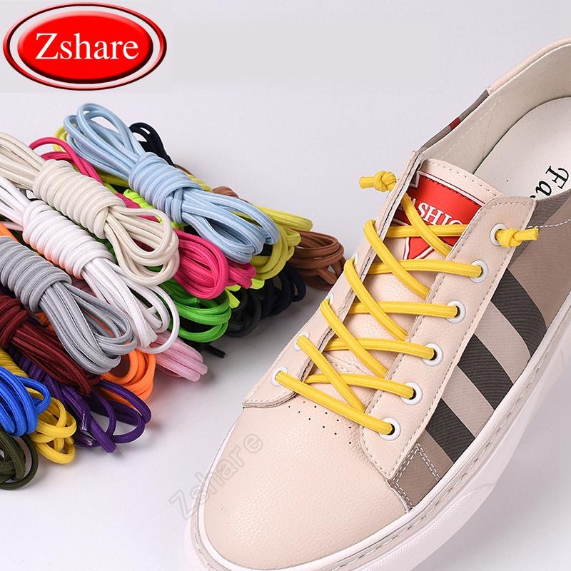 HOT sale Multicolor stretch Lazy color round elastic Shoe Laces 100cm A Pair WQ