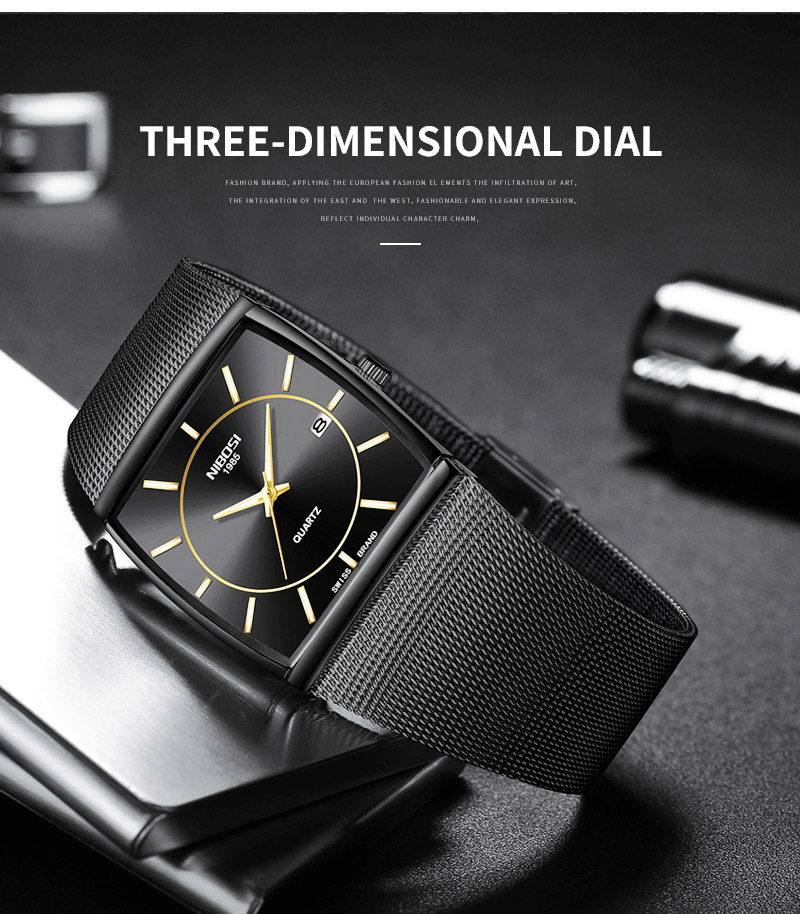 Factory Direct Sales Luxury Luminous Men`s Waterproof Watch NIBOSI Quartz European Style Unique New Square Stainless Steel Watch (2)