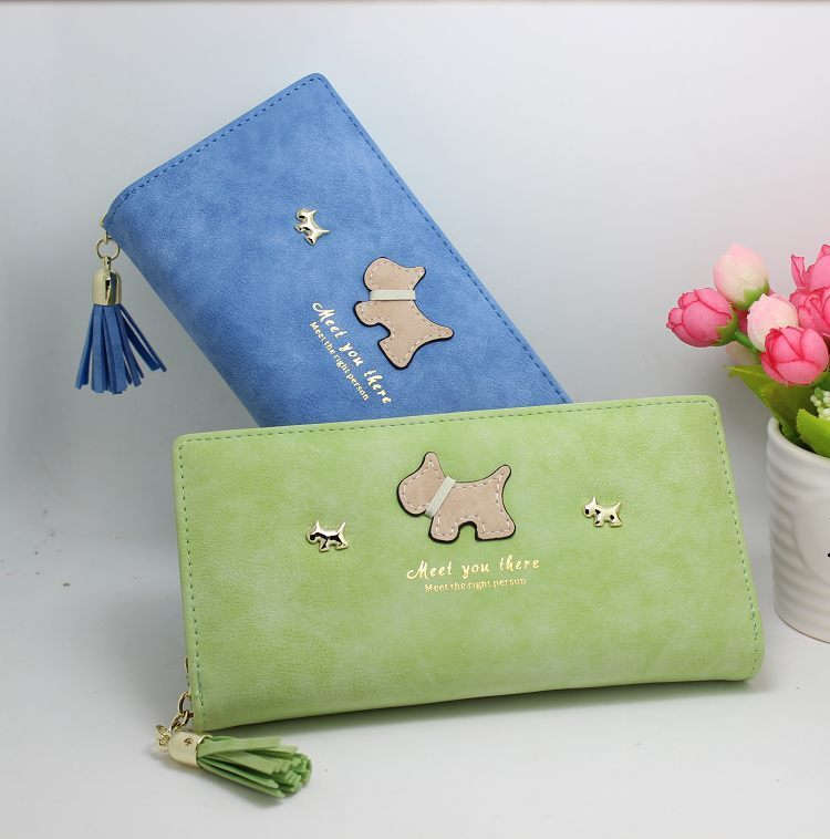 New Cartoon Wallets Women Graffiti Dog Purse Tassel Bags Hasp Zipper Animal Pet Wallet Female Cute Card Holder Ladies Coin Purse