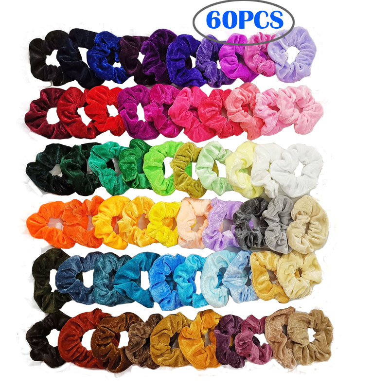 Girls Shimmer Elastic Hairbands Frilly Straight 6 bands in 1 pack Blue Purple
