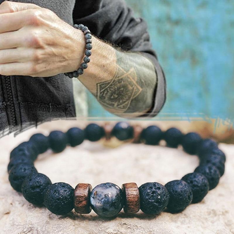 Ethnique Réglable Lava Stone Bracelet Femmes Naturel Noir VOLCANIQUE BOUDDHA Bead