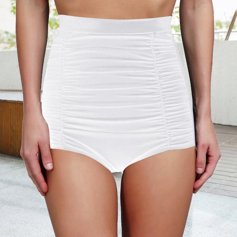 Mulheres Sexy Natação Briefs Biquíni Shorts Swim Bottom Cintura Alta One Piece Sólida Vintage Push Up Swimsuit Plus Size Roupa Interior
