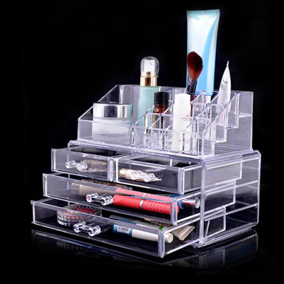 Acrylic Clear Makeup Organizer Cosmetic Jewelry Storage Box Lipstick Rack Eyeshadow Brushes Storage Drawer Type Display Boxes