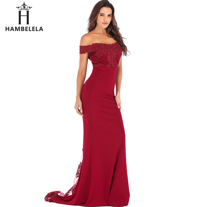 HAMBELELA Vestido De Festa Pink Black Red Mermaid Dress Lace Top Bodice Slim Long Formal Party Dress Charming Wedding Party Gown (5)