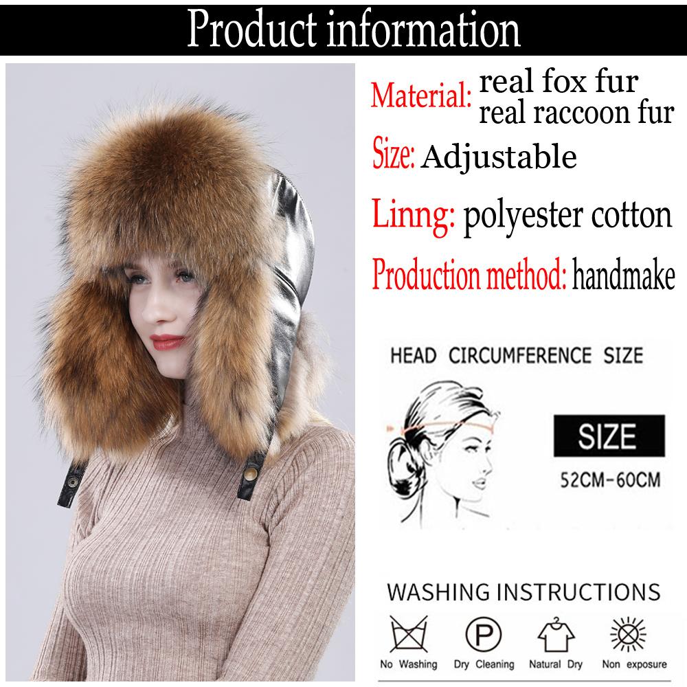 New Winter Real Fur Hat For Women&men Raccoon Fox Fur Russian Ushanka Hats Unisex Thick Warm Ears Bomber Sheepskin Leather Cap