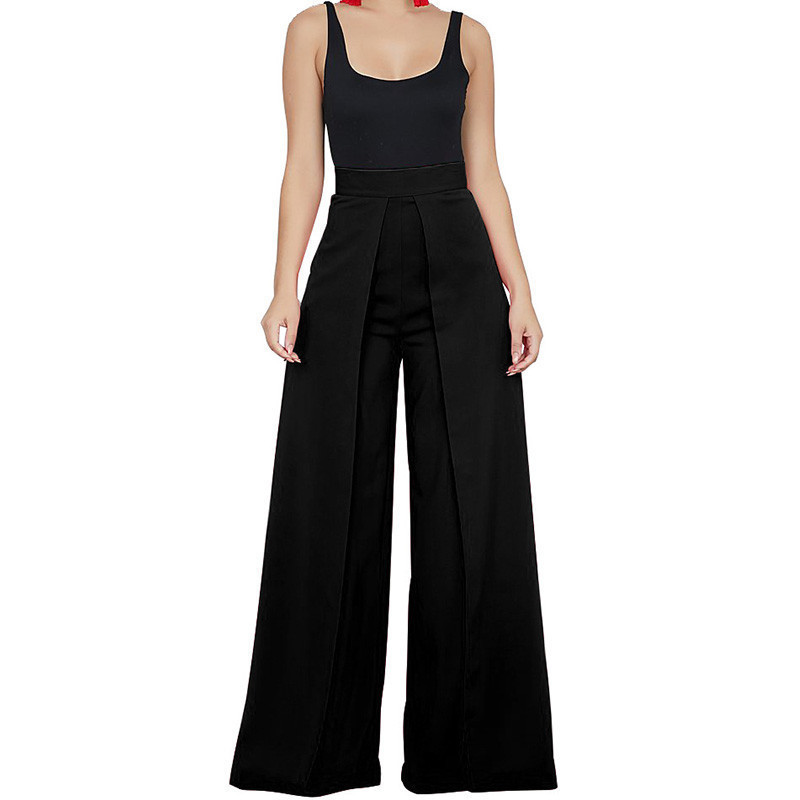 Chic High Waist Zipper Palazzo Pants For Women Casual Loose Wide Leg Pants Ladies Elegant Long Culottes Trousers Pantalon Femme Y190430