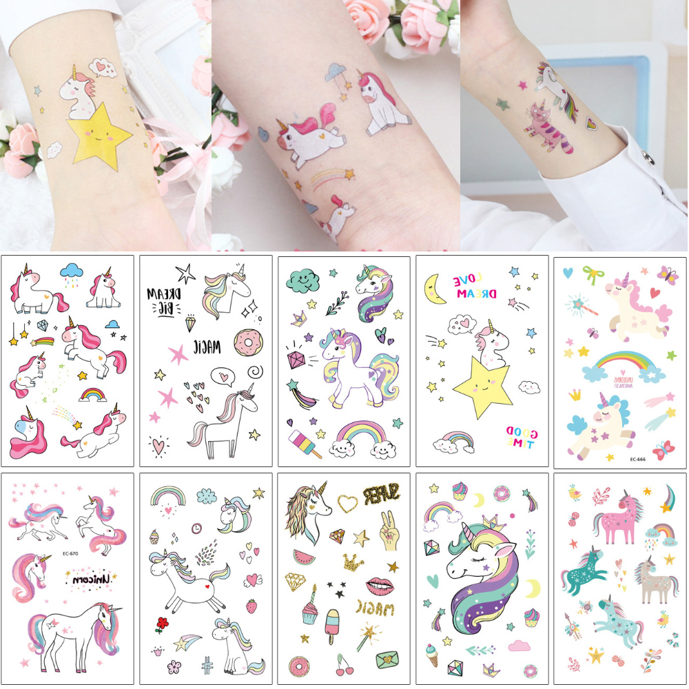 Wasserdicht Temporäres Einhorn Pferd Tattoo Fälschungs Karikatur Netten Kind Körper Kunst Make Up Tattoos Sticker