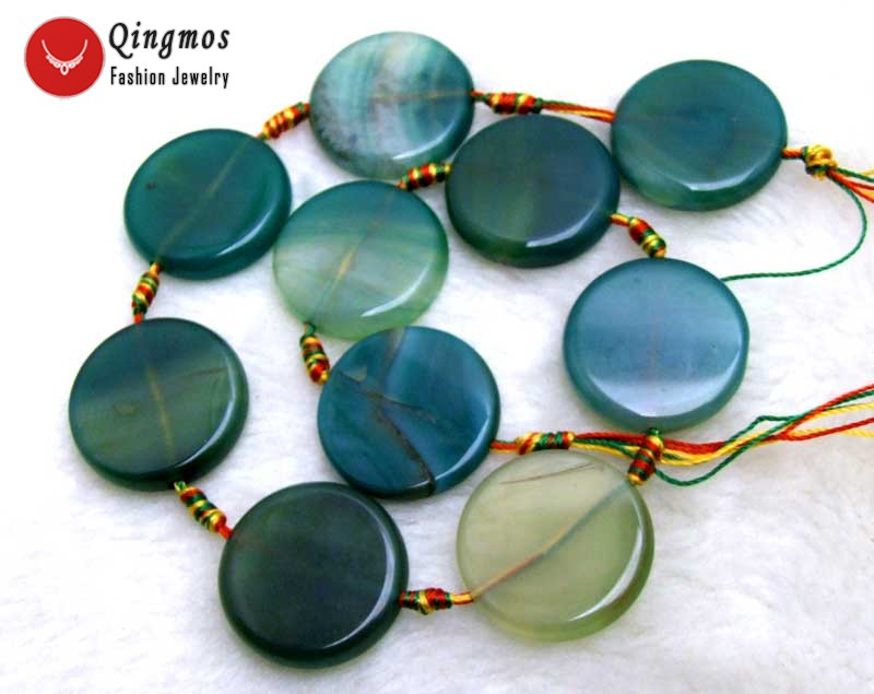 wholesale 28mm Coin Round Green Striped Natural Agates Loose Beads for Jewelry Making Necklace Bracelet DIY 15'' los662 Free Ship