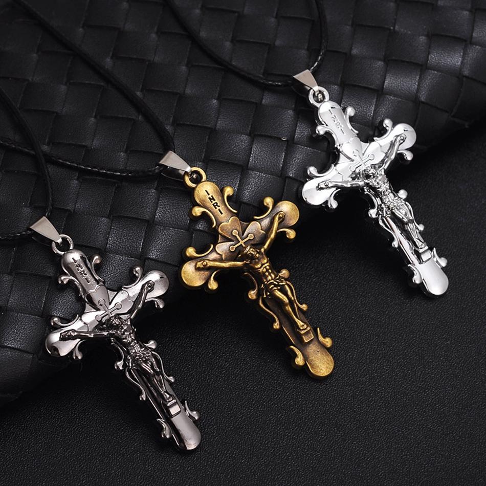 Vintage Retro Mode Unisex religiöse hölzerne Kreuz Anhänger Halskette