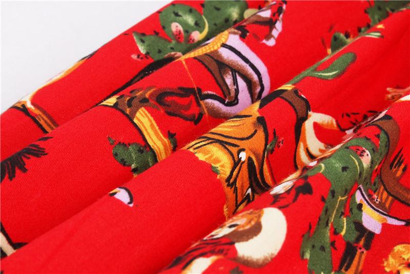 Kostlish Retro Print Flower Summer Skirts Womens High Waist Vintage Skirt Elegant A-Line Midi Women Skirt Plus Size XXL 22 (47)