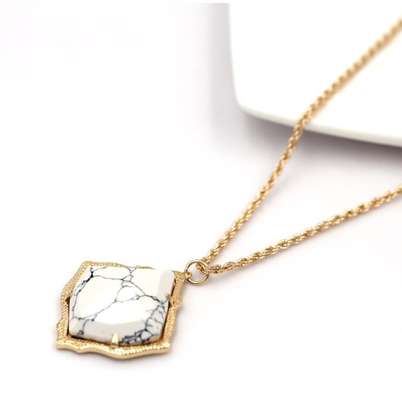 FI Women New Multi Layer Chain Round Coin Faux Marble Stone Pendant Necklace