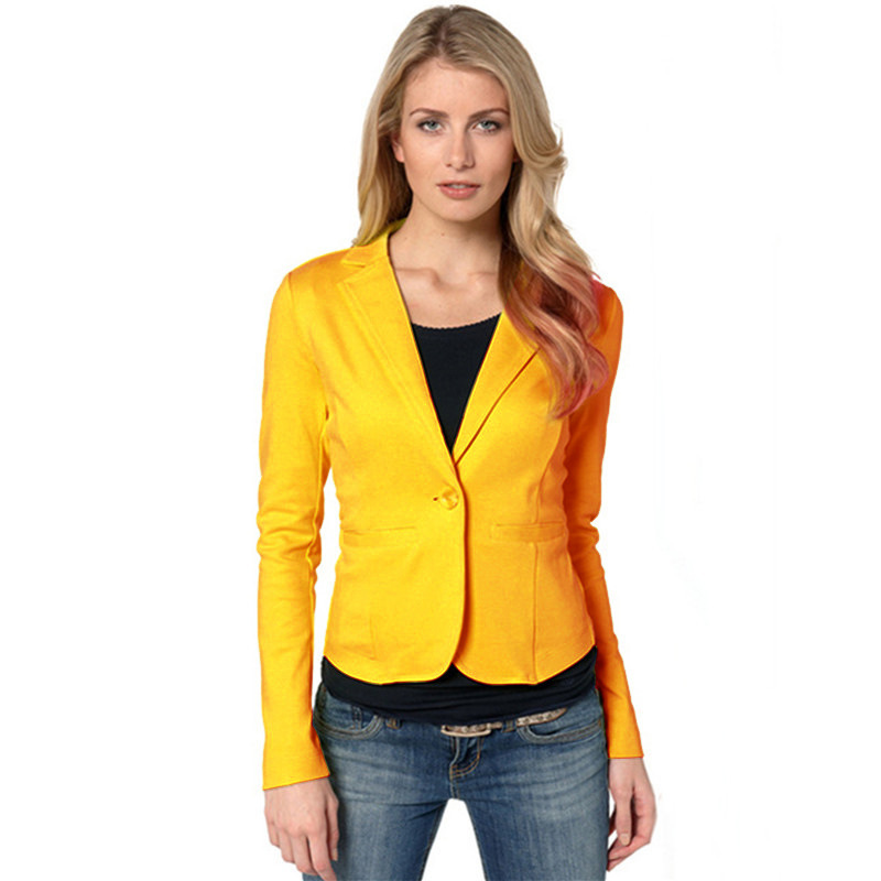 Coolred-Women Long Sleeve Skinny Short OL 1-Button Casual Outwear Blazer