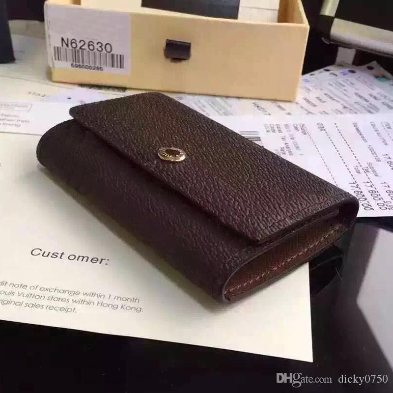 Wholesale key purse for men top quality multicolor leather short wallet lady six key holder women men classic zipper pocket key chain