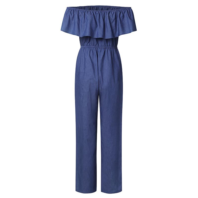 Vonda Denim Rompers Womens Jumpsuit 2019 Summer Sexy Slash Neck Off Shoulder Ruffles Playsuits Plus Size Wide Leg Pants Overalls Y19051601