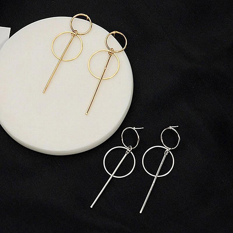 NOUVEAU Métal Or Tassel Boucles d'oreilles pour femmes Long Pendentif Cercle Earings mode Déclaration de bijoux géométrique Vorbellen Voor Vrouwen