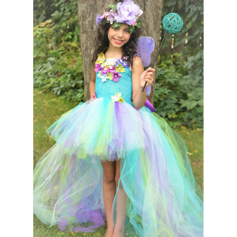 Exquisite Peacock Water Fairy Tutu Dress Girls Birthday Festival Party Pageant Costume Kids Teal Turquoise Purple Ball Gown Dress (9)