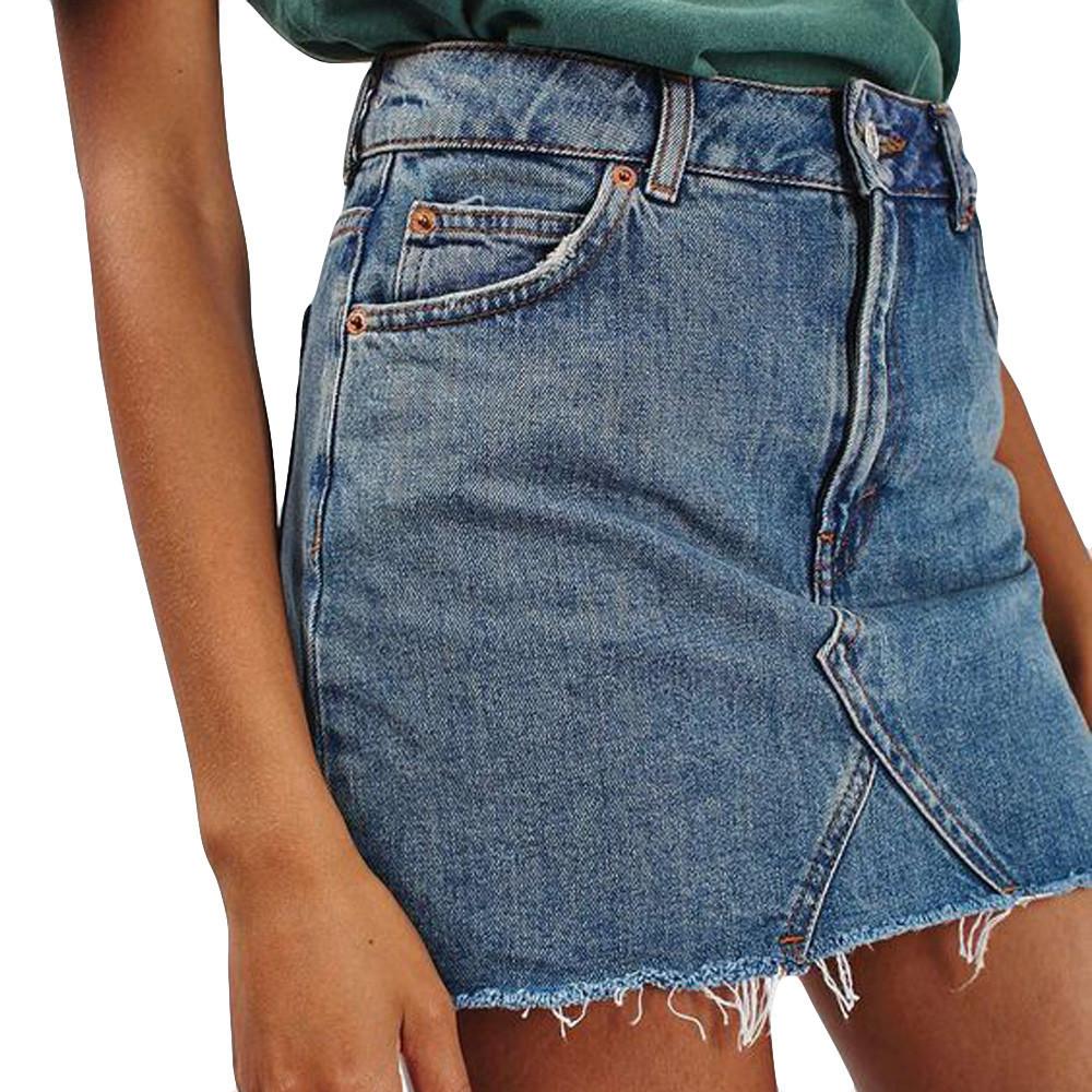 Jeans Donna Jupe Bordi irregolari Gonna Jean donna Vita alta Casual A-line Denim Bodycon corto C19041601