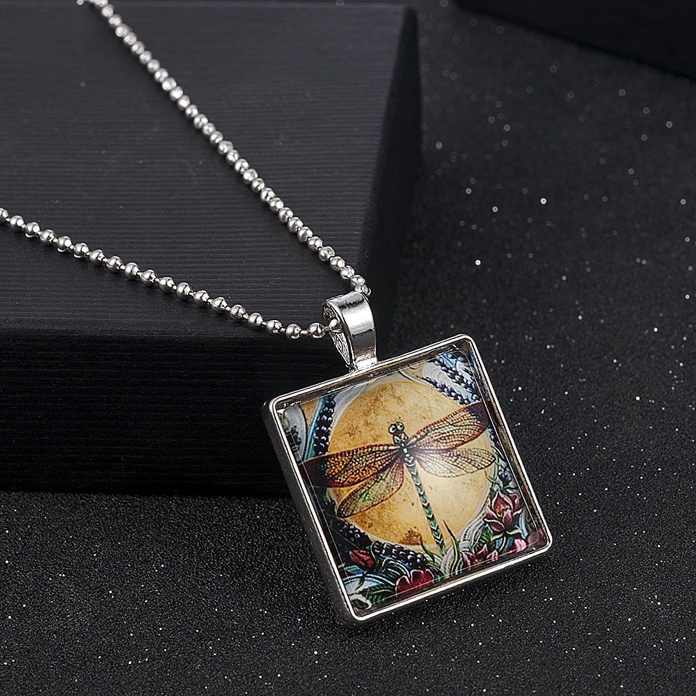 Angel on Moon Art Photo Glass Cabochon Pendant Chain Necklace Sweater Chain UK