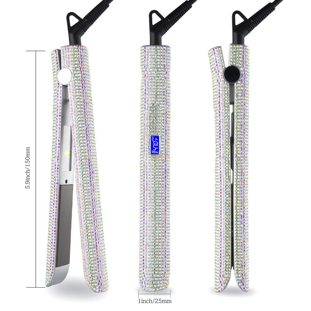 MADAMI Hair Straightener Flat Iron Hand Made Crystal Diamond With LCD Digital Display MCH Sparkling Rhinestones Titanium Plate White (9)