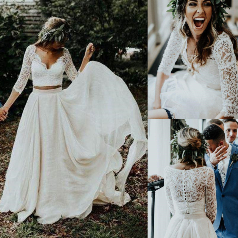 Two Pieces Beach Boho Wedding Dresses Bridal Gowns 2021 Lace Soft Tulle Chiffon Bohemian Country Plus Size Long A Line Bride Dress Half Sleeve