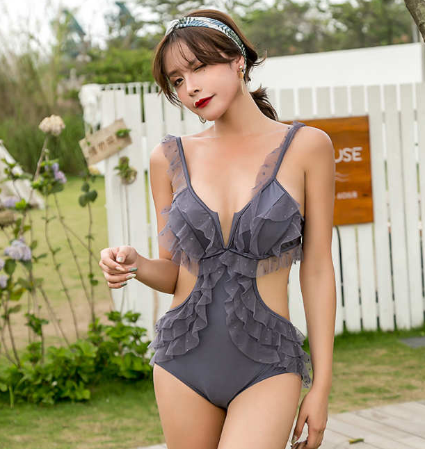 Gardening Spring Baby Girls New Shoulder Straps Cute Spots One-piece Triangle Swimsuit with Lace Decoration