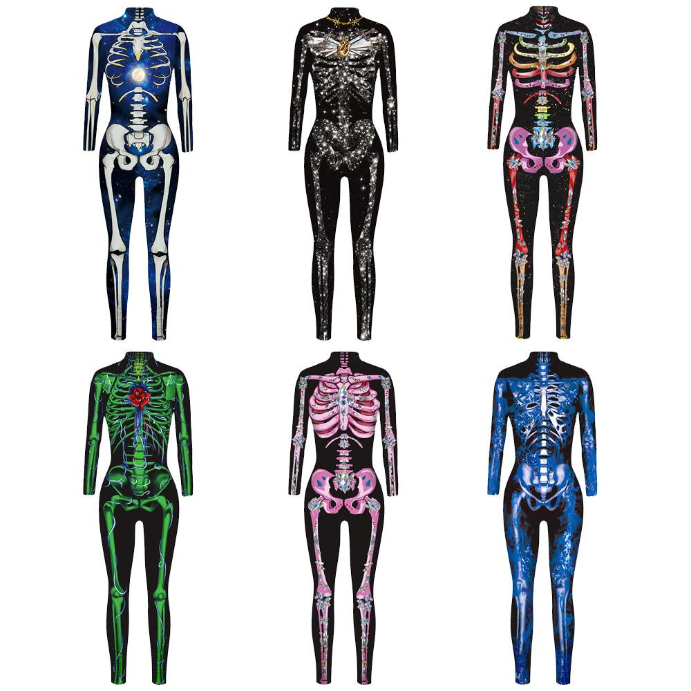 Damen Skelett Faschings Kostüm Knochen Overall Jumpsuit Horror Halloween Zentai