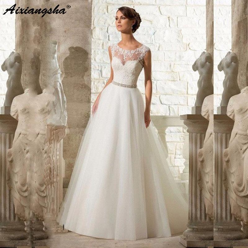 Cheap A-line Lace Appliques Wedding Dress 2019 Vintage Plus Size Vestido De Novia With Beading Button Sash Sexy Robe De Mariage Y19072901