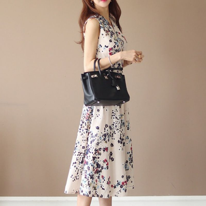 2019 Summer Foral Dress Mujeres sin mangas Slim Japan Style Flower Dresses Vintage Office Ladies Beach Daily Causal Long Dress
