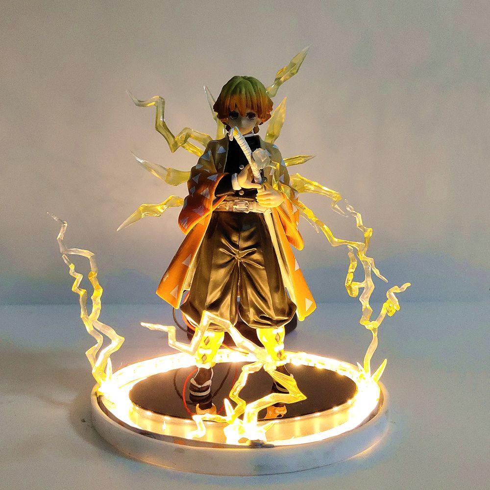 Kimetsu no Yaiba Demon Slayer Anime Figures Agatsuma Zenitsu Night Light Flash Effect PVC Demonic Toys Figurals Model Gift Doll