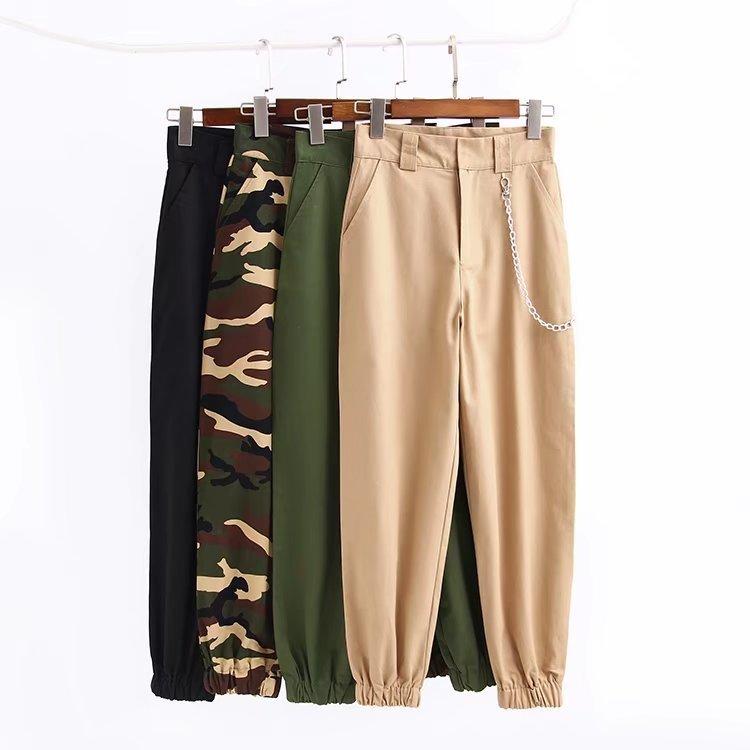Women Casual Waist Chains Sweatpants Khaki Cargo Pants Camo Joggers Long Black Zipper Trousers Streetwear Harem Pantalon Female C19040801