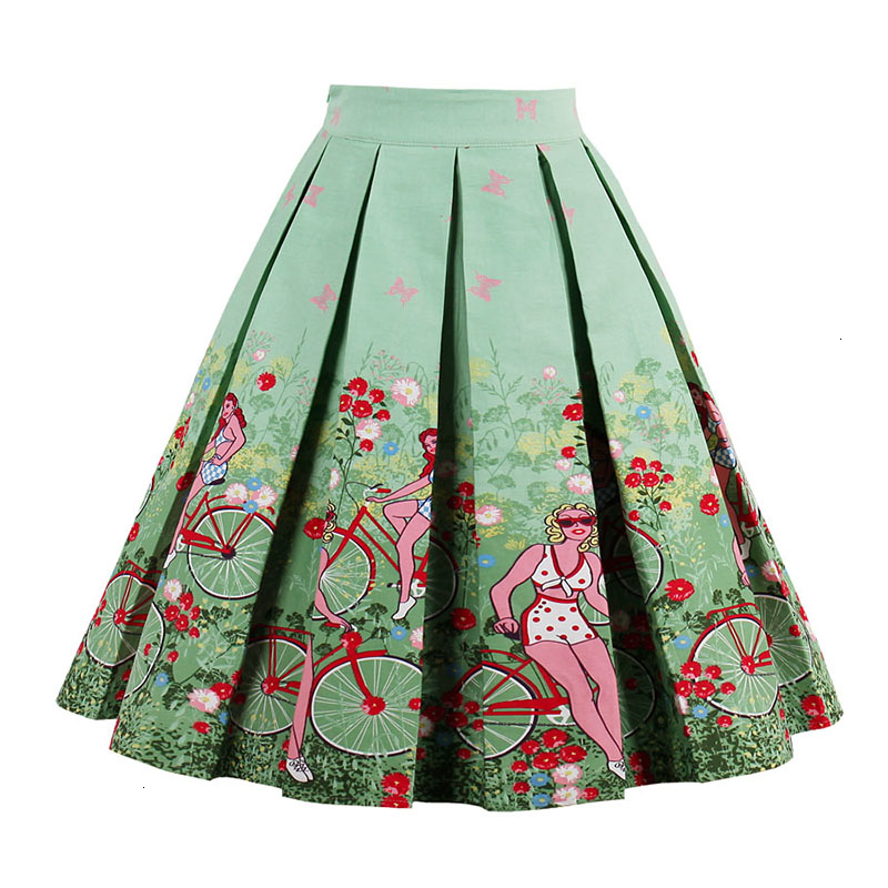 Kostlish Retro Print Flower Summer Skirts Womens High Waist Vintage Skirt Elegant A-Line Midi Women Skirt Plus Size XXL 22 (76)