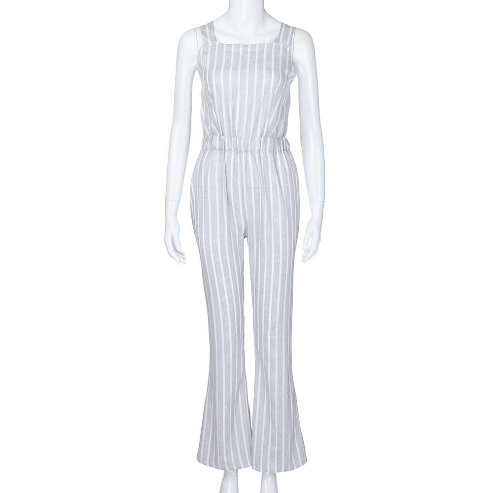 Toptan Kadın Kolsuz Şerit Tulumlar Bayan Gevşek Tulum Uzun Geniş bacak Pantolon Rahat moda Tulumlar M300111
